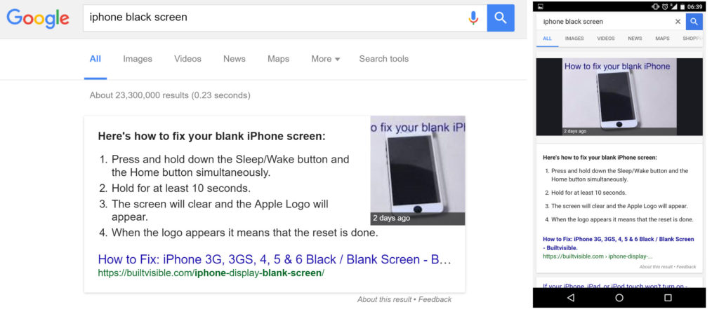 Query: iPhone black screen / URL.